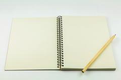 карандаш тетради открытый Стоковая Фотография
