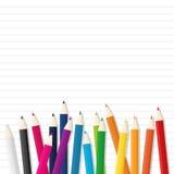 Карандаш цвета деревянный на линии предпосылке бумаги Стоковое фото RF