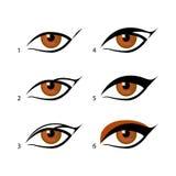 Карандаш для глаз установленный, который карандашами для глаз подогнали целая куча более легкая с этим фокусом Иметь состава Стоковые Изображения