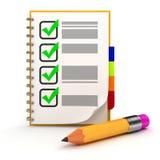карандаш 3d и контрольный список Стоковые Изображения
