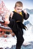 Карате мальчика показывает методы японских боевых искусств карате Тренировка молодых спортсменов, чемпионов стоковые фотографии rf