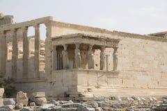 Кариатиды, акрополь, Афины, Греция Стоковое Изображение