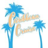 Карибская карта текста круиза Нарисованная рука помечающ буквами плакат с ладонями Шаблон туристского агенства вкладышей круиза бесплатная иллюстрация