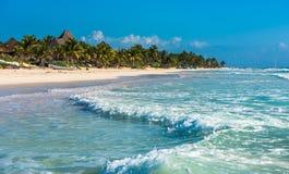 Карибская панорама пляжа, Tulum, Мексика Стоковая Фотография
