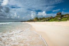 Карибская панорама пляжа, Tulum, Мексика Стоковое Изображение RF