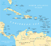 Карибская политическая карта Стоковые Изображения