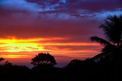 Карибский заход солнца над Sosua Стоковое Изображение RF