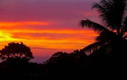 Карибский заход солнца над Sosua Стоковые Изображения RF