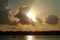 карибский заход солнца стоковое фото