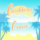 Карибский плакат оформления круиза с вкладышем и пальмами Ультрамодное помечая буквами знамя для отключений круизной линии Логоти иллюстрация вектора