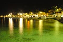 Карибский пляж на ноче Стоковая Фотография