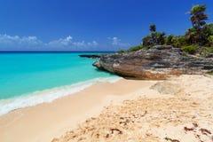 Карибский пляж в Playa del Carmen Стоковые Изображения RF