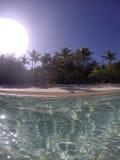 Карибский пляж от воды Стоковая Фотография RF