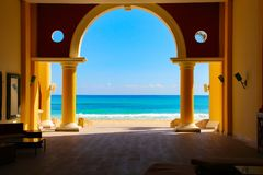 Карибское море, солнечный пляж Paraiso, майяское Ривьера стоковое изображение rf