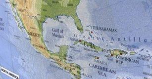 карибское перемещение Мексики карты Кубы Гаити Стоковые Фотографии RF