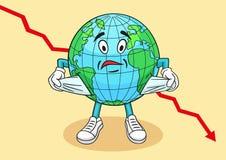 Карикатура глобального финансового кризиса Стоковые Изображения