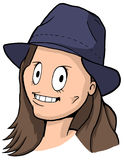 Карикатура девушки с коричневыми волосами, большими глазами и голубой шляпой Стоковые Изображения