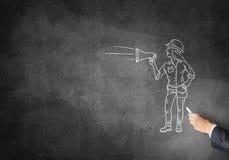 Карикатура женщины построителя Стоковые Фото