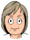Карикатура середины постарела женщина с пакостными белокурыми волосами, смелейшими бровями, круглыми глазами и узкой улыбкой Стоковое фото RF