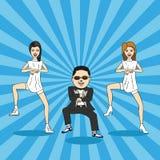 Карикатура танца gangnam. Стоковые Изображения RF
