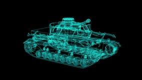 Каркасной модели hologram танка в движении бесплатная иллюстрация