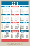 Карманный календарь 2018, вектор, старт в воскресенье Стоковая Фотография