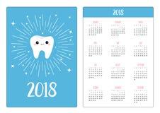 Карманный календарь 2018 год Неделя начинает воскресенье Здорово Стоковые Фотографии RF