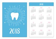 Карманный календарь 2018 год Неделя начинает воскресенье Здорово Стоковые Фото