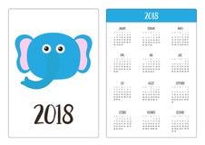 Карманный календарь 2018 год Неделя начинает воскресенье смешно Стоковые Изображения