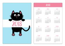 Карманный календарь 2018 год Неделя начинает воскресенье Черное смешное иллюстрация штока