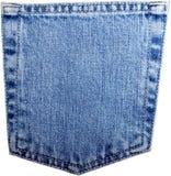 Карманн голубых джинсов изолированное на белизне Стоковое фото RF