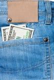 карманн джинсыов долларов кредиток Стоковые Фото