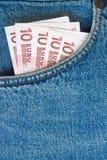 карманн джинсыов евро кредиток Стоковые Изображения