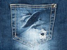 карманн джинсыов отверстия старое Стоковая Фотография