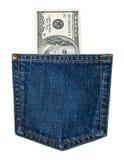 карманн джинсыов счетов i Стоковое Фото