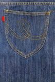 Карманн на голубых джинсах Стоковые Фото