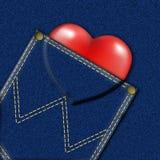 карманн сердца джинсовой ткани Иллюстрация штока