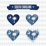 Каролина южная Собрание 4 сердец вектора с флагом Силуэт сердца бесплатная иллюстрация