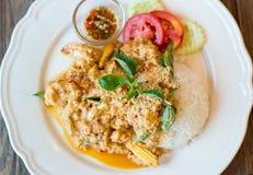 Карри креветки с рисом, тайской едой Стоковые Фото