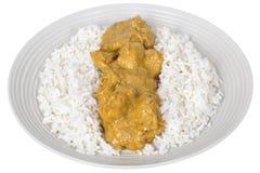 Карри свежего цыпленка индийское с белым Basmati рисом Стоковые Изображения RF