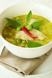 Карри цыпленка зеленое, тайская еда. Стоковые Изображения