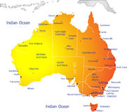 карта Австралии политическая Стоковое Изображение RF