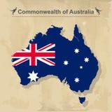 Карта Австралии при флаг изолированный на винтажной предпосылке, иллюстрации вектора Стоковая Фотография