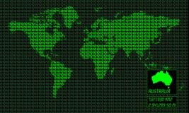 карта Австралии цифровая Стоковое Фото