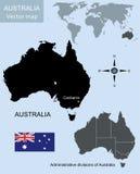 карта Австралии континентальная политическая Стоковая Фотография
