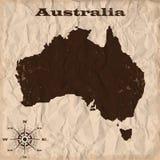 Карта Австралии старая с grunge и скомканной бумагой также вектор иллюстрации притяжки corel иллюстрация вектора