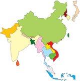 карта Азии восточная южная Стоковые Фотографии RF