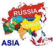 карта Азии политическая Стоковые Изображения