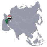 Карта Азии с Ираком Стоковая Фотография RF