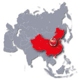 Карта Азии с Китаем Стоковое Фото